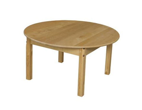 "Solid Birch Hardwood Table, Birch Hardwood Top, 36"" Round, Fixed Height Legs"