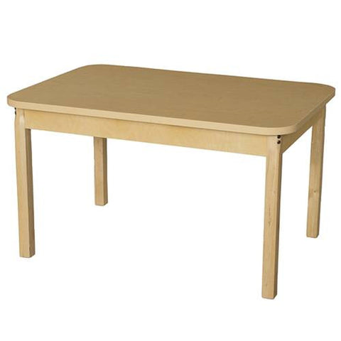 "Wood Table with High-Pressure Laminate Top, 30"" x 44"" Rect., Fixed Height Legs"