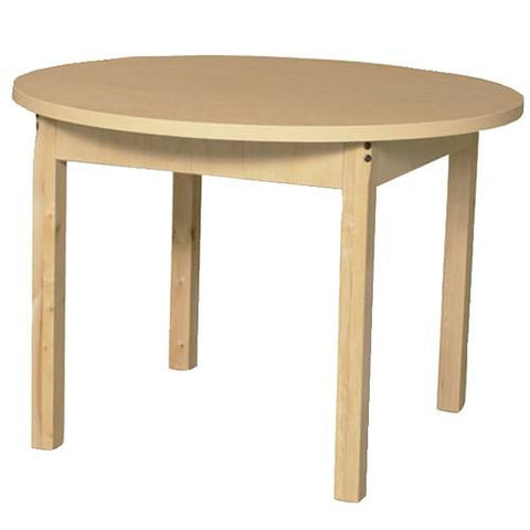 "Wood Table with High-Pressure Laminate Top, 36"" Round, Fixed Height Legs"
