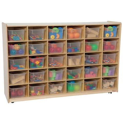 Mobile Cubbie 30-Tray Storage Cabinet with Translucent Trays