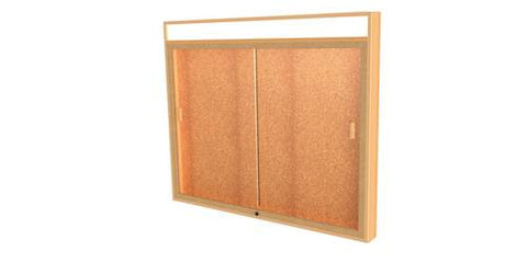 "Legacy Wall-Mounted Display Cabinet with Illuminated Header Panel, Cork Back, 50"" W x 42"" H"