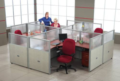 "Rize Four 72"" Workstations, Vinyl/Polycarbonate Panels, 47"" H"