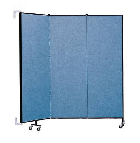 "Screenflex Wall-Mounted Partition, 3 Panels, 5' 6"" L x 6' H"