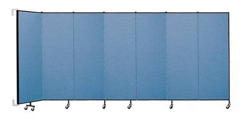 "Screenflex Wall-Mounted Partition, 7 Panels, 12' 10"" L x 6' H"