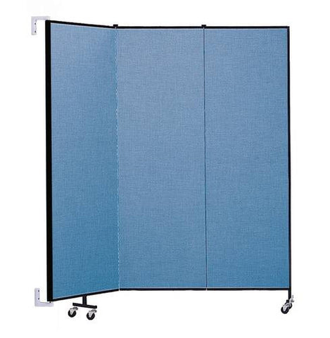 "Screenflex Wall-Mounted Partition, 3 Panels, 5' 6"" L x 6' 8 H"