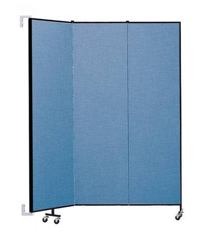 "Screenflex Wall-Mounted Partition, 3 Panels, 5' 6"" L x 7' 4 H"