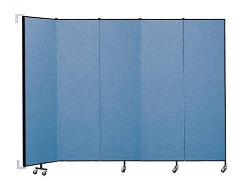 "Screenflex Wall-Mounted Partition, 5 Panels, 9' 2"" L x 7' 4 H"