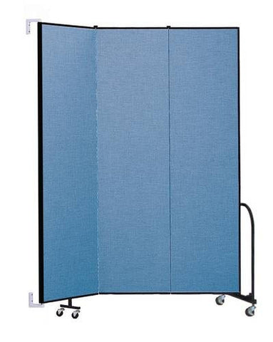 "Screenflex Wall-Mounted Partition, 3 Panels, 5' 6"" L x 8' H"