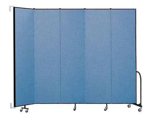 "Screenflex Wall-Mounted Partition, 5 Panels, 9' 2"" L x 8' H"