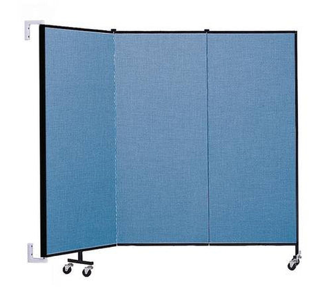 "Screenflex Wall-Mounted Partition, 3 Panels, 5' 6"" L x 5' H"