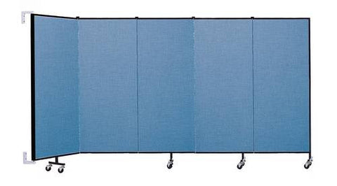 "Screenflex Wall-Mounted Partition, 5 Panels, 9' 2"" L x 5' H"