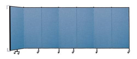 "Screenflex Wall-Mounted Partition, 7 Panels, 12' 10"" L x 5' H"