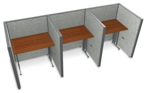 "Rize Three 36"" Workstations, Vinyl Panels, 47"" H"
