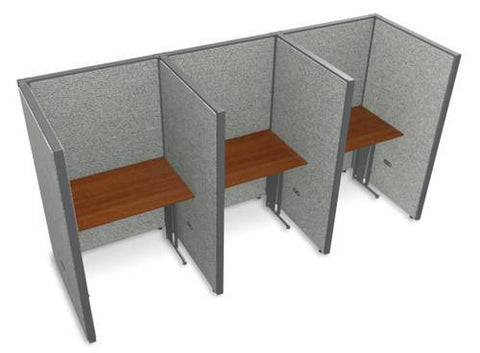 "Rize Three 36"" Workstations, Vinyl Panels, 63"" H"