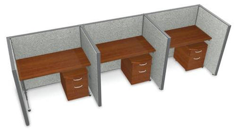 "Rize Three 48"" Workstations, Vinyl Panels, 47"" H"