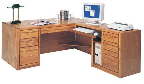 Hand Crafted Genuine Oak Modular Desk with Return