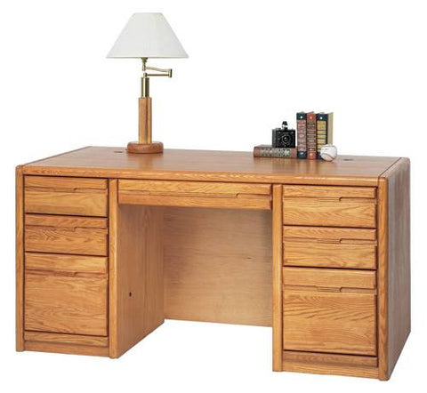 "Hand Crafted Genuine Oak Double Pedestal Desk, 60"" W x 32"" D x 29"" H"