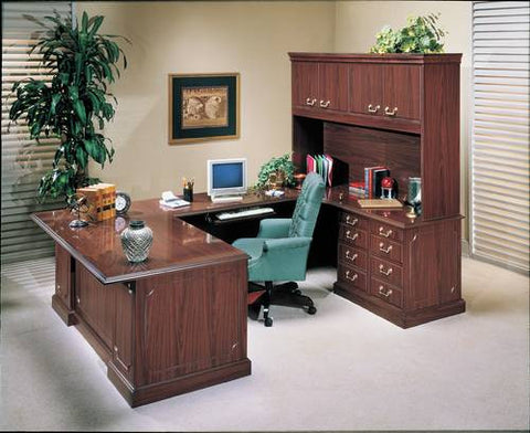 Shown is Model 88294 Executive U-Shaped Desk with Hutch and Standard Credenza. Model 88295 has Lateral File Credenza.