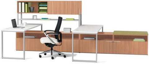 "Voi™ ""U"" Workstation with Hutch and Low Credenzas, 72"" W x 144"" D x 65"" H"