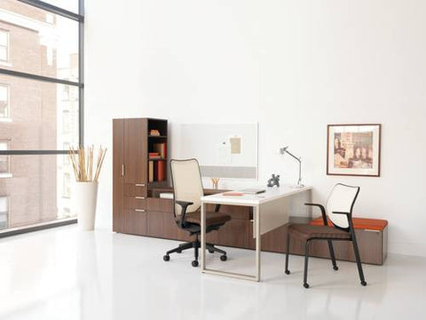 "Voi™ Single Workstation with Tower and Low Credenzas, 72"" W x 144"" D x 65"" H"