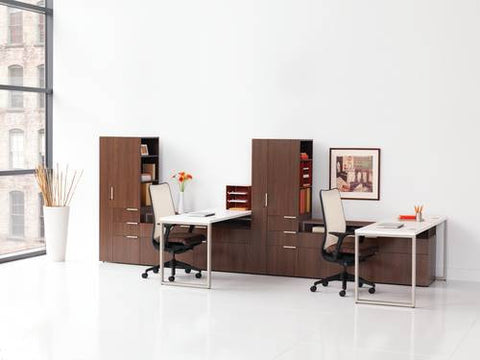 "Voi™ Double Workstation with Towers and Low Credenzas, 72"" W x 168"" D x 65"" H"