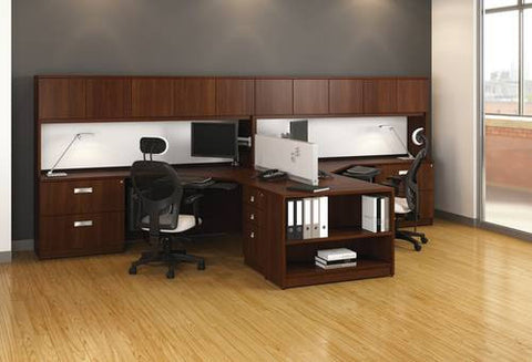 "Millenium Collection 2-Person ""L"" Workstation with Hutches"