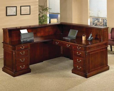 Keswick Cherry Veneer Traditional L-Shaped Reception Station