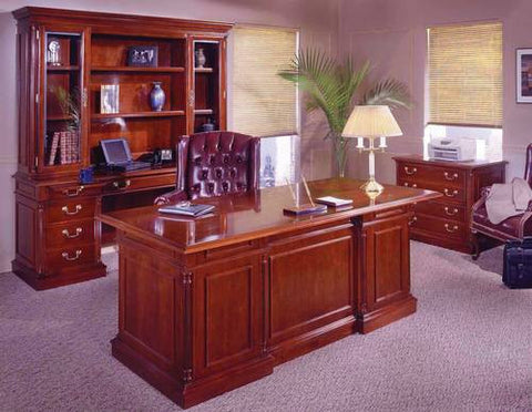 Models shown are Hutch #26658 atop Kneehole Credenza #26654, Double Pedestal Desk #26650 and Lateral File #26664.