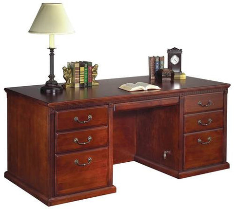 Hand Crafted Genuine Cherry Traditional Double Pedestal Desk