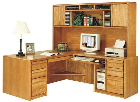 Hand Crafted Genuine Oak Modular Desk with Hutch