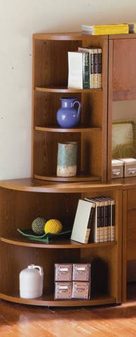 Model 74215 Quarter-Round Upper Bookcase shown with Model 74214 Quarter-Round Lower Bookcase.