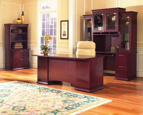 Models shown (front to back): 410030 (Double Pedestal Desk); 410032 (Keyboard Credenza), 410033 (Tricabinet  Hutch), 410037 (2-Dwr Lateral File) and 410038 (Bookcase Hutch).