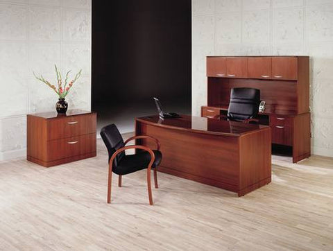 Shown is Model 135074-BF Bowfront Double Pedestal Desk, Model 135102 Storage Hutch with Model 135081 Computer Credenza and Model 135096 Lateral File.