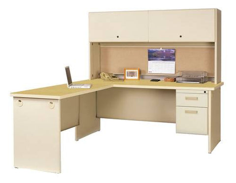 Model 200885 Single Pedestal Modular-L Desk shown with Model 200883 Closed Hutch