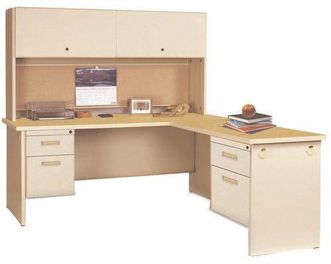 Model 200884 Closed Hutch shown with Model 200886 Double Pedestal Modular-L Desk