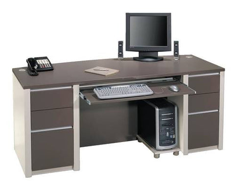 Model 460338 Complete Bow Front Desk configuration includes Model 460301 Bowfront Desk Shell, 2 each Model 460306 Full Pedestals and Model 460310 Keyboard Shelf/CPU Platform