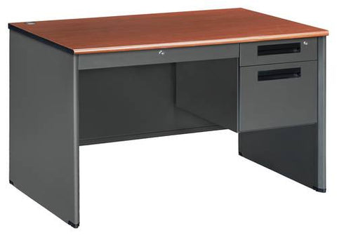 "Executive Panel End Single Pedestal Desk, 48"" Wide"