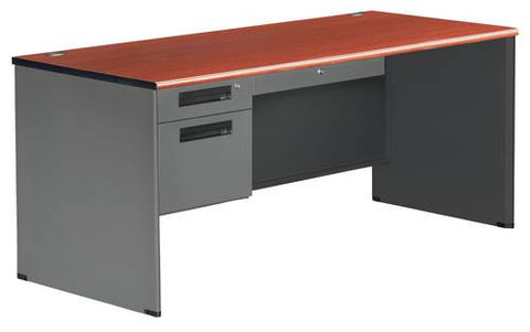 "Executive Panel End Single Pedestal Desk, 66"" Wide"