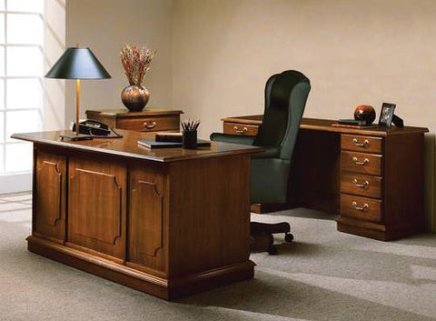 Model 401079 Desk shown with Model 412320 2-Drawer Lateral File and Model 200819 Kneespace Credenza.