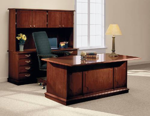 Model 412316 Desk shown with Model 412318  Kneespace Credenza with Model 412319 Hutch.