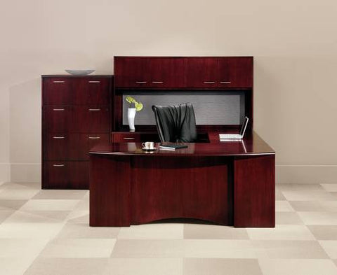 Shown, left to right: Model 412366 4-Drawer Lateral File and Model 412360 Door Hutch with Tackboard atop Model 412371 Executive Bow Front U-Desk