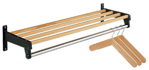 "Wall-Mounted Wood and Metal Coat Rack, 24"" W, Holds 10 Hangers"