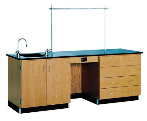 "Instructor's Desk with Sink, 96"" W x 30"" D x 36"" H"