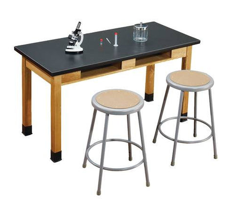"Superior Science Lab Table with Phenolic Top and Dual Book Compartments, 24"" x 48"""