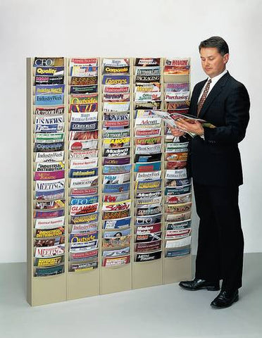 "Model shown: Row of five units 61468 (23-Pocket Wall-Mounted Literature Rack with Contoured 9-3/4"" W Pockets)."