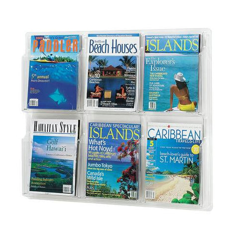Deluxe Clear Display 6-Pocket Magazine Rack