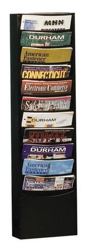 "Wall-Mounted Literature Rack, 11 Pockets, 9-3/4"" W x 4-1/8"" D x 36"" H"