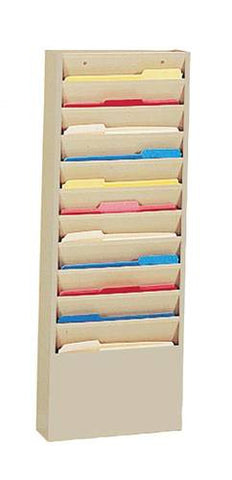 "Wall-Mounted Literature Rack, 11 Pockets, 13-3/4"" W x 4-1/8"" D x 36"" H"