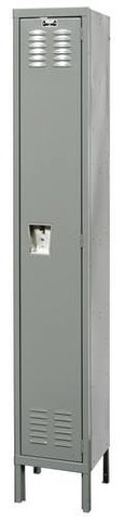 "Rugged Steel Lockers with 1 Opening, 1-Wide Single Tier, Assembled, 12"" W x 15"" D x 72"" H"