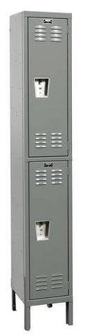 "Rugged Steel Lockers with 2 Openings, 1-Wide Double Tier, Assembled, 12"" W x 12"" D x 36"" H"